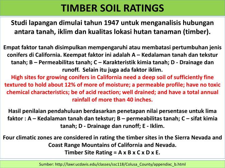 TIMBER SOIL RATINGS