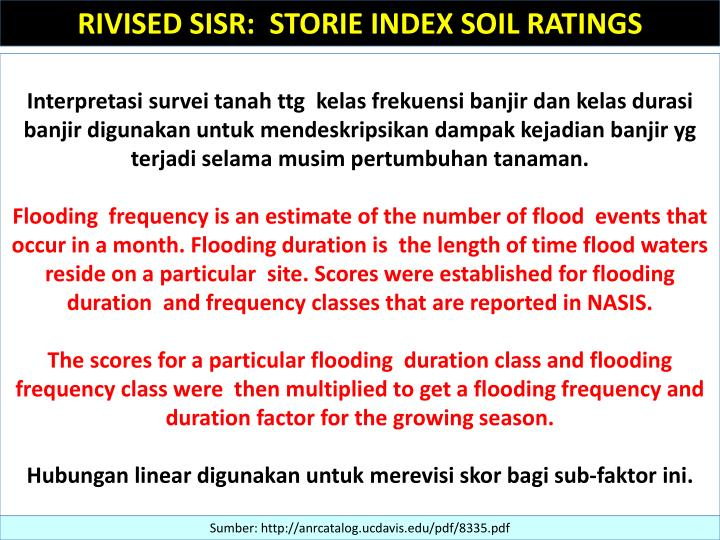 RIVISED SISR:  STORIE INDEX SOIL RATINGS