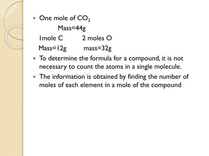 One mole of CO