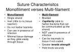 suture characterisitcs monofiliment verses multi filament