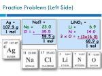 practice problems left side