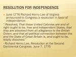 resolution for independence