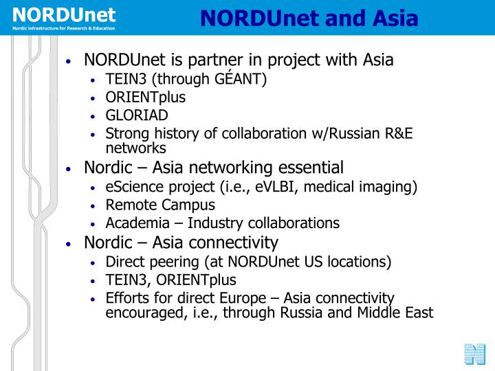 NORDUnet and Asia