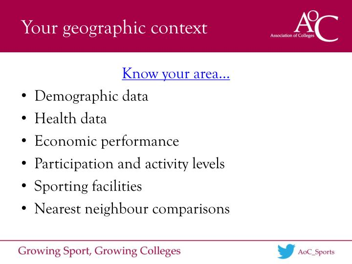 Your geographic context