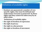 definition of available rights