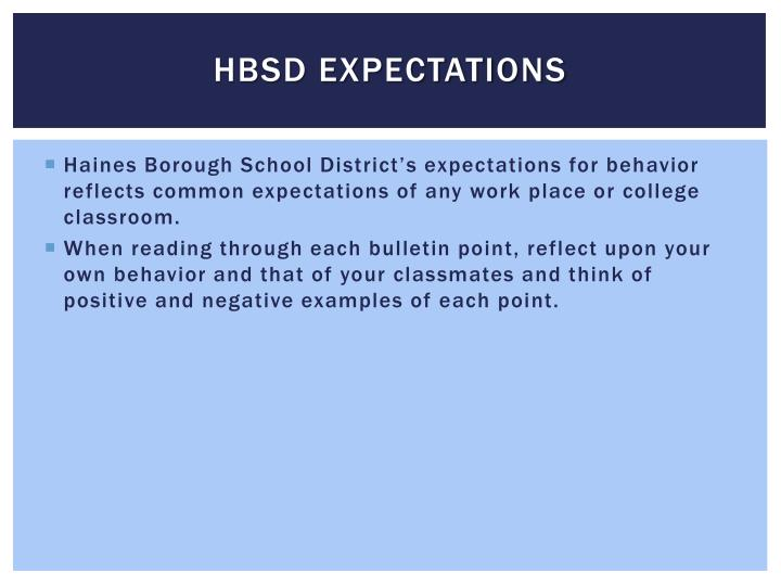 HBSD Expectations