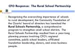 cfo response the rural school partnership