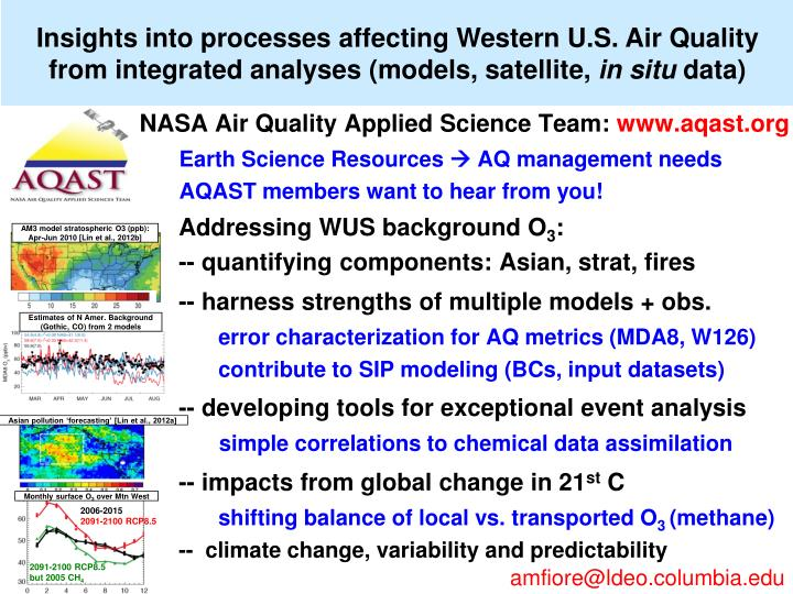 Insights into processes affecting Western U.S. Air