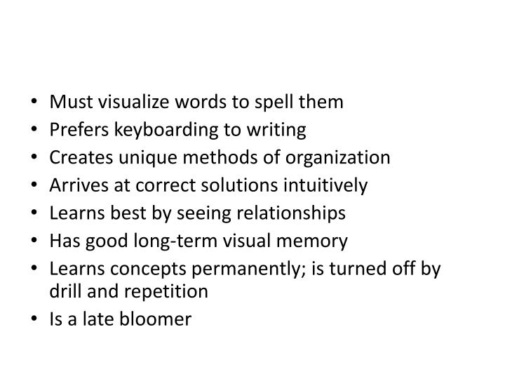 Must visualize words to spell them