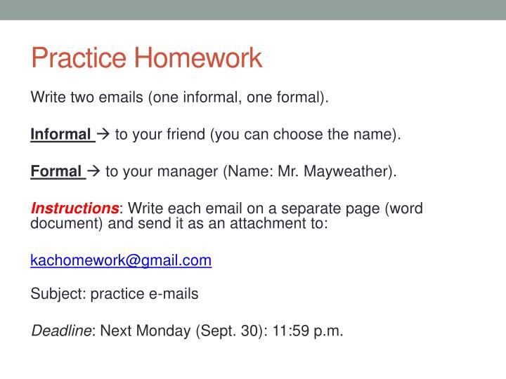 Practice homework