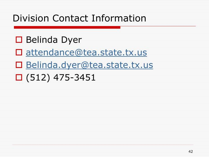 Division Contact Information