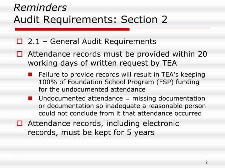 Reminders audit requirements section 2