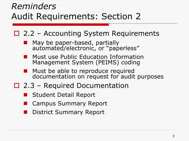 Reminders audit requirements section 21