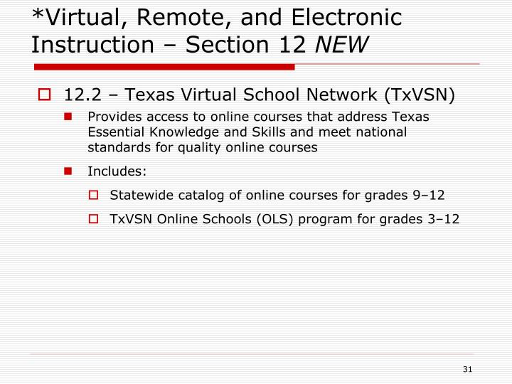 *Virtual, Remote, and Electronic Instruction – Section