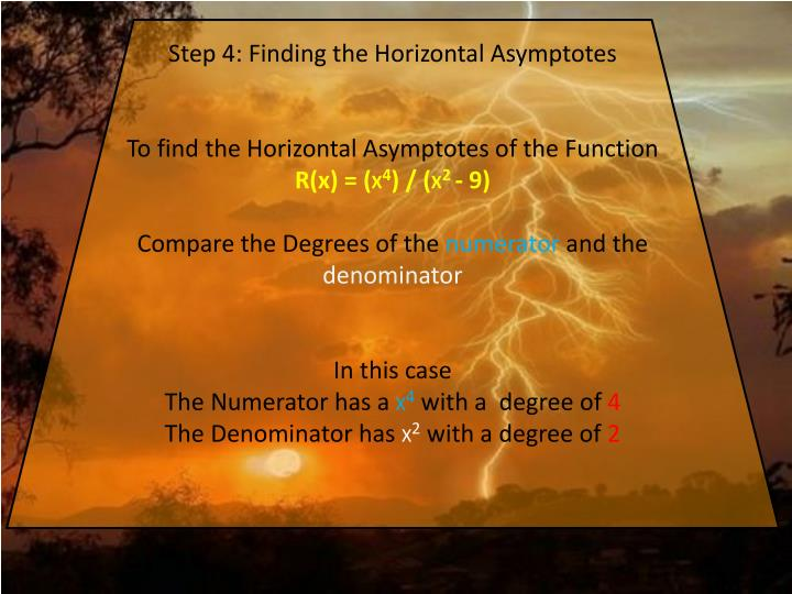 Step 4: Finding the Horizontal Asymptotes