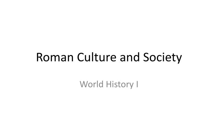 roman culture and society n.