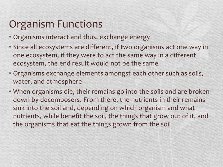 Organism functions