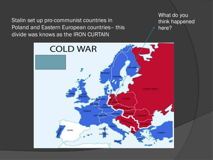 Stalin set up pro-communist countries in Poland and Eastern European countries– this divide was knows as the IRON CURTAIN
