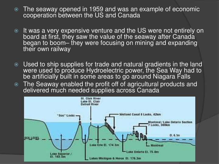 The seaway opened in 1959 and was an example of economic cooperation between the US and Canada