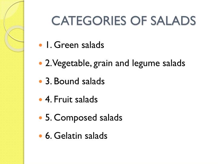 CATEGORIES OF SALADS