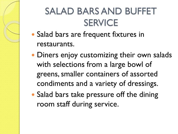 SALAD BARS AND BUFFET SERVICE