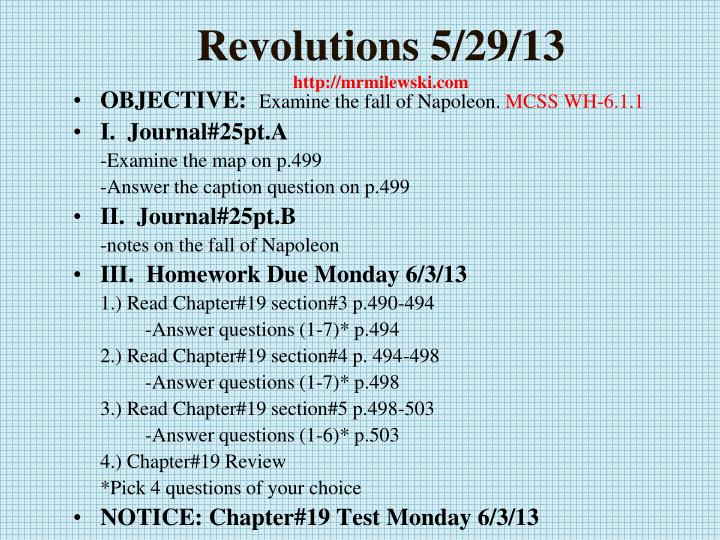 Revolutions 5 29 13 http mrmilewski com