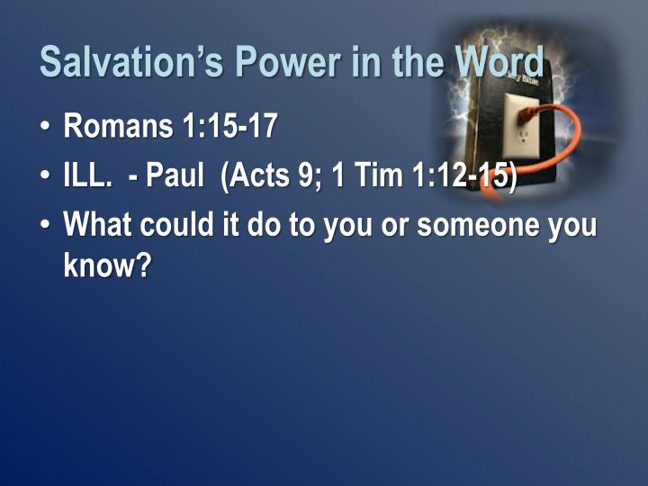 Salvation's Power in the Word