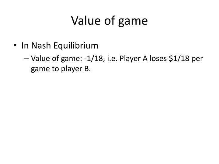 Value of game