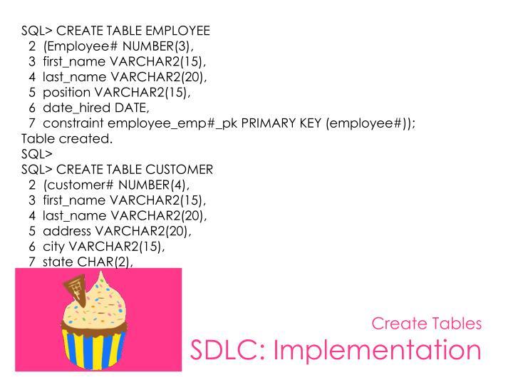 SQL> CREATE TABLE EMPLOYEE