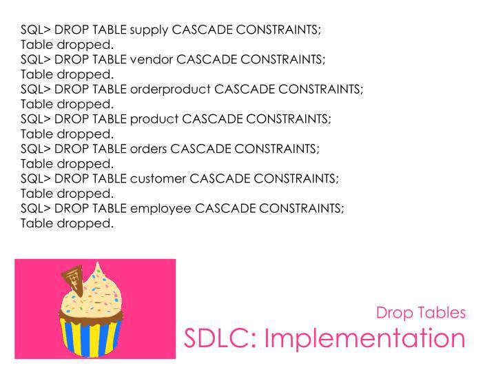 SQL> DROP TABLE supply CASCADE CONSTRAINTS;