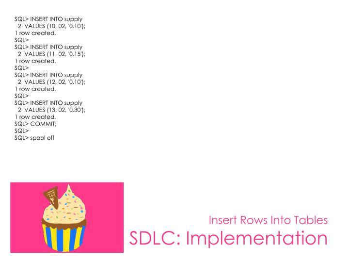 SQL> INSERT INTO supply