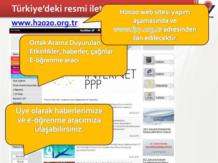 Türkiye'deki resmi iletişim kanalı