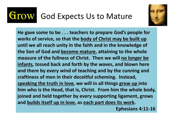 God Expects Us to Mature