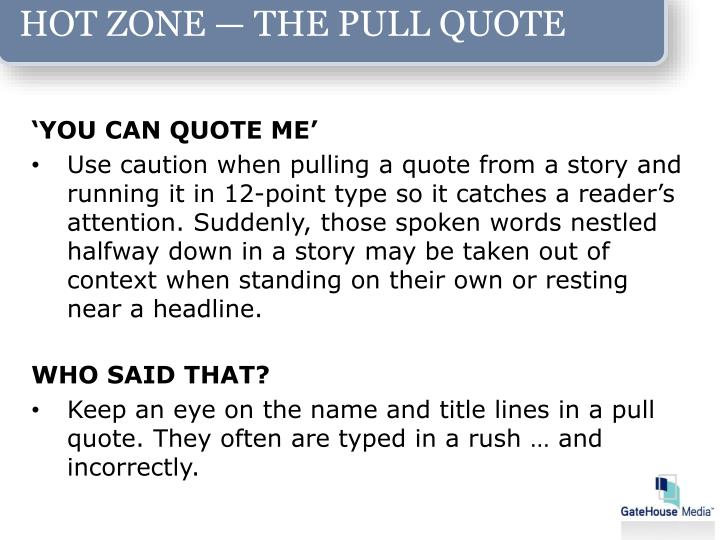 HOT ZONE — THE PULL QUOTE
