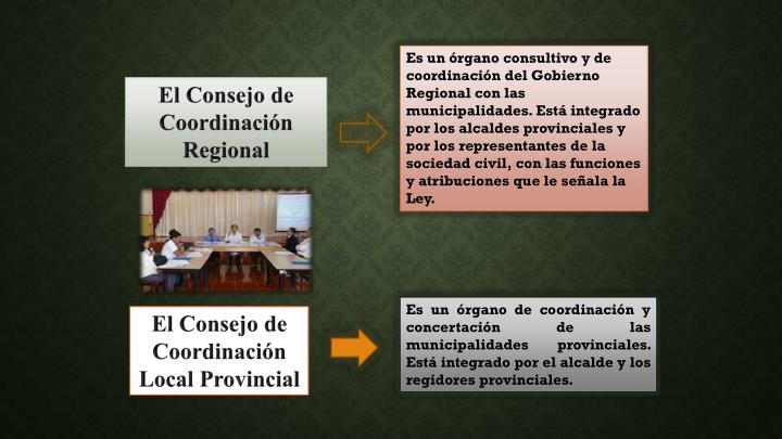 Es un órgano consultivo y de coordinación del Gobierno Regional con las municipalidades. Está integrado por los alcaldes provinciales y por los representantes de la sociedad civil, con las funciones y atribuciones que le señala la Ley.