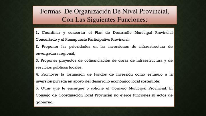 Formas  De Organización De Nivel Provincial, Con Las Siguientes Funciones: