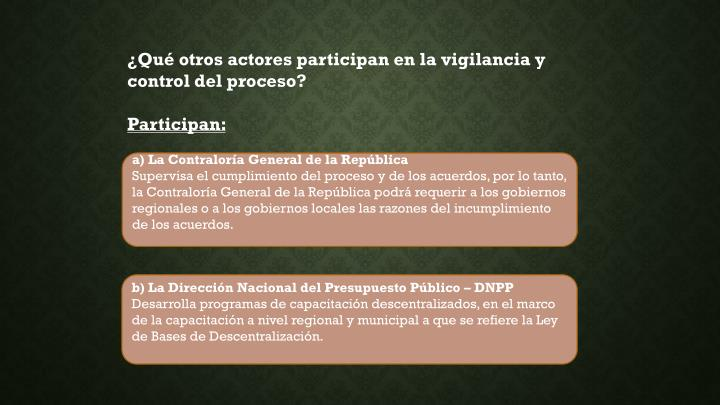 ¿Qué otros actores participan en la vigilancia y control del proceso?