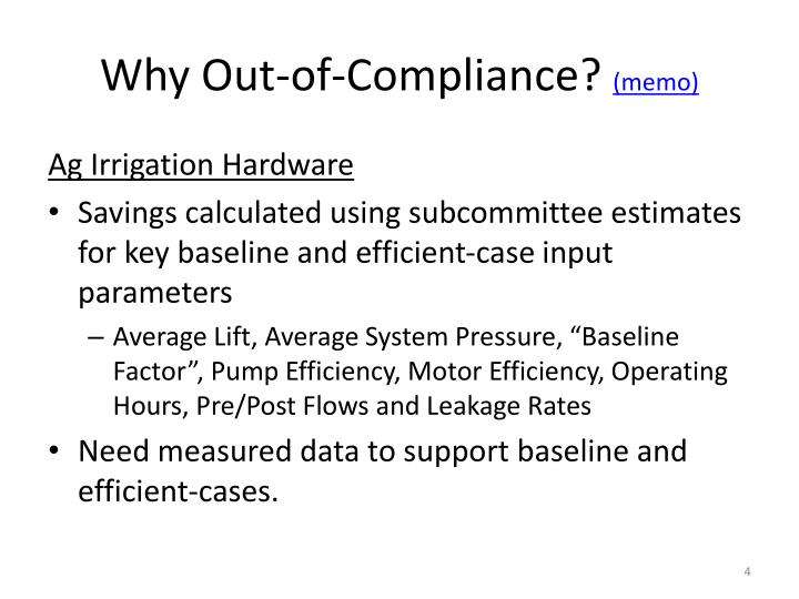 Why Out-of-Compliance?