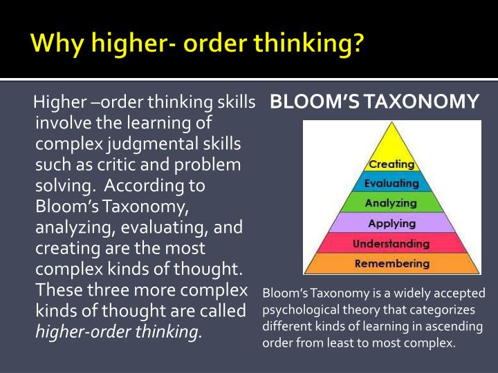 Why higher- order thinking?