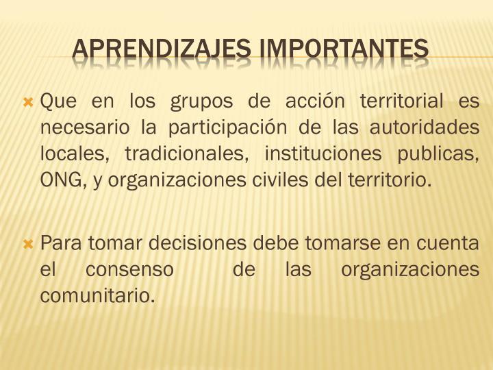 Que en los grupos de acción territorial es necesario la participación de las autoridades locales, tradicionales, instituciones publicas, ONG, y organizaciones civiles del territorio.