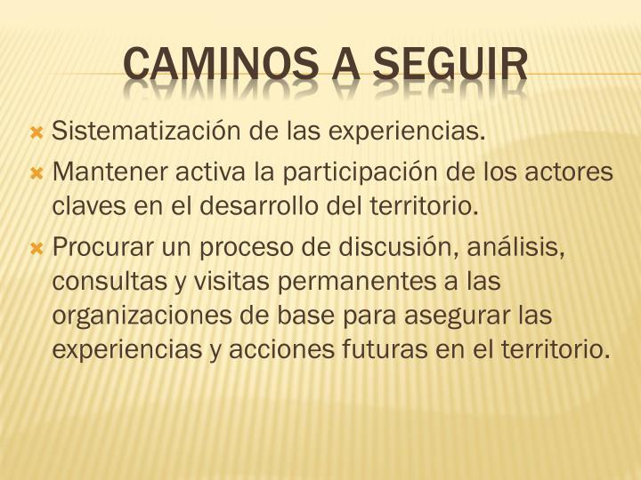 Sistematización de las experiencias.