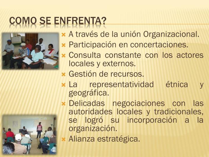 A través de la unión Organizacional.
