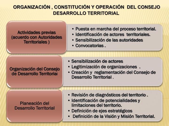 ORGANIZACIÓN , CONSTITUCIÓN Y OPERACIÓN  DEL CONSEJO  DESARROLLO TERRITORIAL