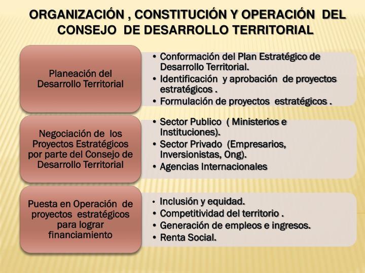 ORGANIZACIÓN , CONSTITUCIÓN Y OPERACIÓN  DEL CONSEJO  DE DESARROLLO TERRITORIAL