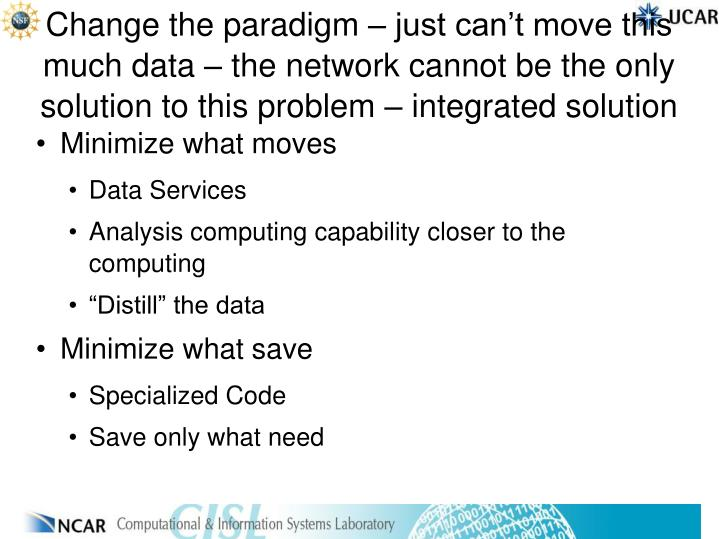 Change the paradigm – just can't move this much data – the network cannot be the only solution to this problem – integrated solution