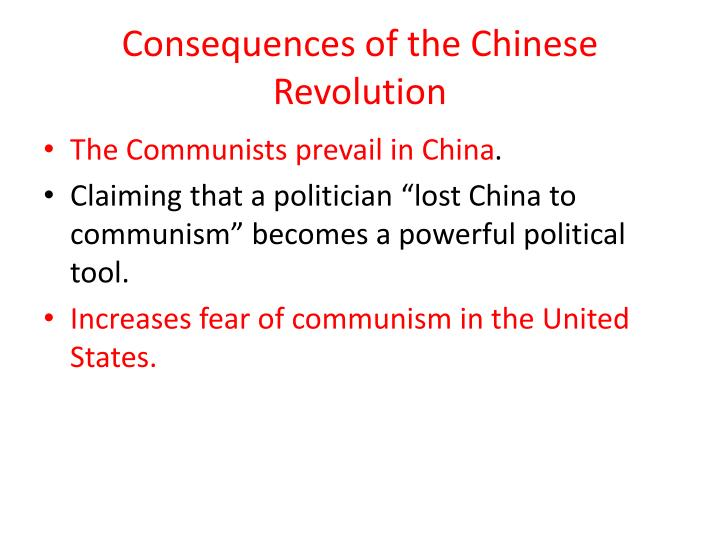 Consequences of the Chinese Revolution
