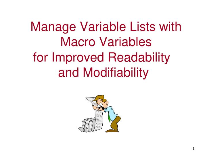Manage variable lists with macro variables