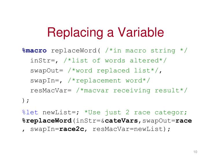 Replacing a Variable