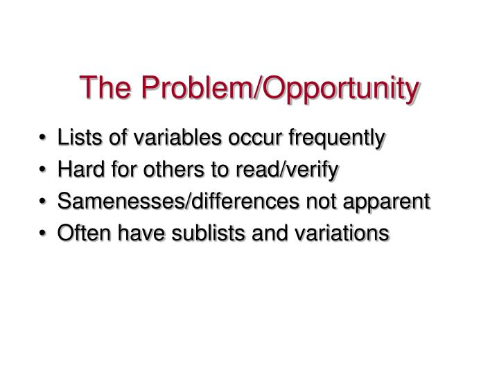 The problem opportunity