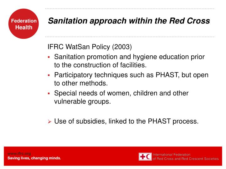Sanitation approach within the Red Cross
